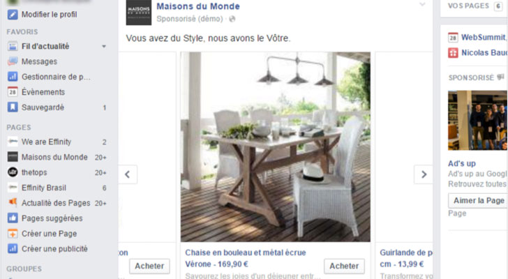 étape facebook dynamic product ads effinity